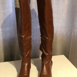 Shoes - Over the knee cognac boots